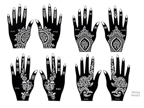 Henna, sagome per tatuaggi per mani, set da 8pezzi per uso singolo, adatte anche per tatuaggi glitterati e con aerografo, set Henna 2