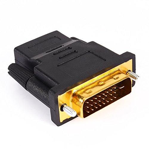 Adaptador de DVI a HDMI, convertidor de Adaptador DVI 24 + 1 HDMI M-F para HDTV Digital LCD Monitor LED