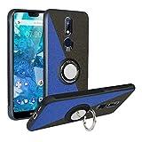 Funda para Nokia 7.1 2018,Fashion Design [Antigolpes] con 360 Anillo iman Soporte, Resistente a los arañazos TPU Funda Protectora Case Cover para Nokia 7.1 2018,Blue/Black