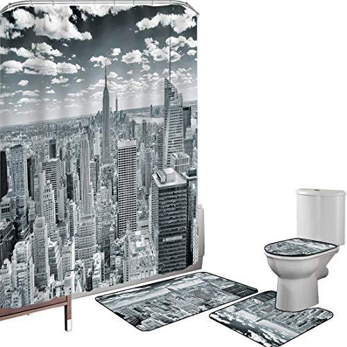 Juego de cortinas baño Accesorios baño alfombras Nueva York Alfombrilla baño Alfombra contorno Cubierta del inodoro Nueva York sobre Manhattan desde la parte superior de los rascacielos Cultura global