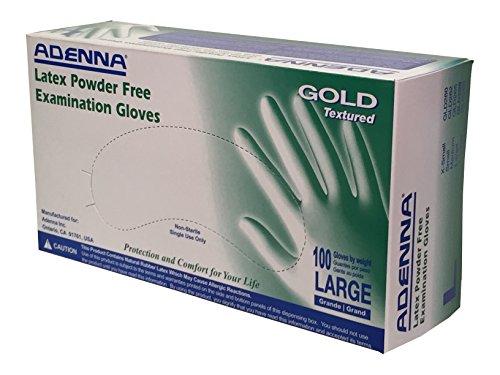 Adenna GLD266 Gold 6 mil Latex Powder Free Exam Gloves (White, Large) Box of 100