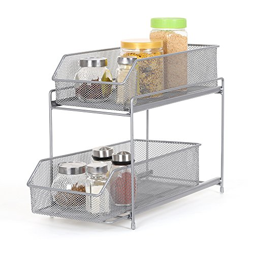 2 Tier Sliding Cabinet Basket Organizer Drawer, Mesh Storage Organizer with Pull Out Drawers for...