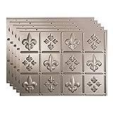 FASÄDE Fleur de Lis Decorative Vinyl 18in x 24in Backsplash Panel in Brushed Nickel (5 Pack)