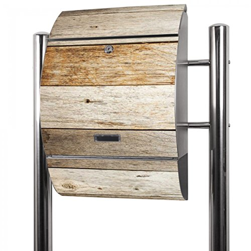 Banjado Briefkasten Edelstahl mit Ständer | Postkasten freistehend 126x53x17cm | Standbriefkasten mit Zeitungsfach und Namensschild Motiv Graues Holz