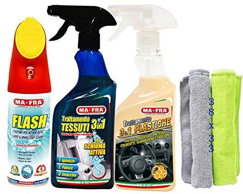 Ma-Fra Kit Trattamento Auto Interno ED Esterno. FLASH pulitore con spazzola- Trattamento 3IN1 TESSUTI- PLASTICHE, più Due Panni Microfibra Multiuso 38X33CM