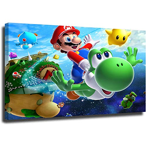 Super Mario Minimalist Wall Art Mario and Yoshi Wall Art for Living Room Framed 36 x 24 Inch