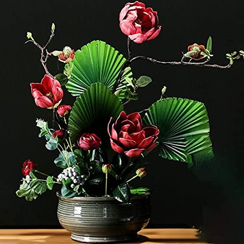 ALIANG Adornos de jardín Flores Artificiales Flores de imitación Flores de Tacto Real Sala de Estar Estilo Chino Flor de Magnolia Oficina Decoraciones de Escritorio Estatua pequeña en el vestíbulo