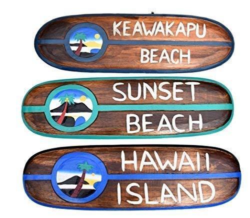 Interlifestyle 3 Decoración Tabla de Surf 60cm Aloha, Surf S Up Maui Keawakapu Playa, Hawai Island