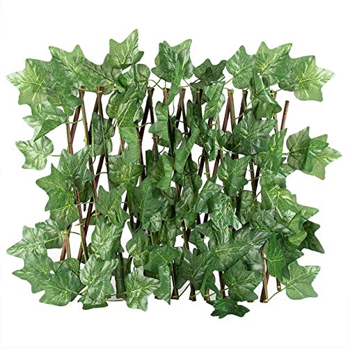 Seasaleshop Artificial Ivy Leaf Hedge Screening, Retractable Durable Fence Expanding Wooden Trellis Plant Privacy Screen for Garden Wall Decoration