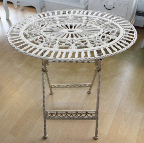 Casa Padrino Jugendstil Gartenmöbel Tisch Altweiss Oval - Garten Tisch Klappbar - Gartentisch