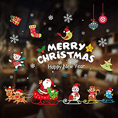 2020 Christmas Window Clings Decorations Window Stickers Christmas Window Decorations Snowman Snowflake Santa Claus Reindeer Elk Static Stickers for Glass Windows (color2)