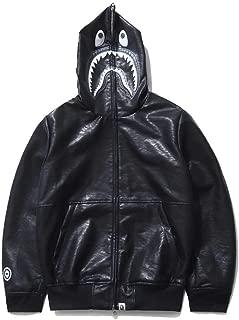 QYS Men Bathing Ape Bape Shark Jaw Leather Full Zipper Hoodie Men's Hooded Jacket,XXL