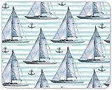 N/A Sailing Boat Pattern Mouse Mat Pad - Ship Nautical Anchor Computer Gift #12441