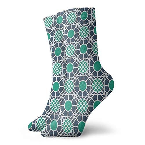 Calcetines suaves de longitud media de pantorrilla, diseño oriental inspirado en mandala, diseño abstracto, calcetines para mujeres y hombres, ideales para correr