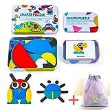 Shapes Puzzle Pattern Blocks(Jouet Bois Jeu 3 Ans) Kids Toddler Puzzles Wooden Toys