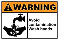 汚染洗浄手を避ける メタルポスタレトロなポスタ安全標識壁パネル ティンサイン注意看板壁掛けプレート警告サイン絵図ショップ食料品ショッピングモールパーキングバークラブカフェレストラントイレ公共の場ギフト