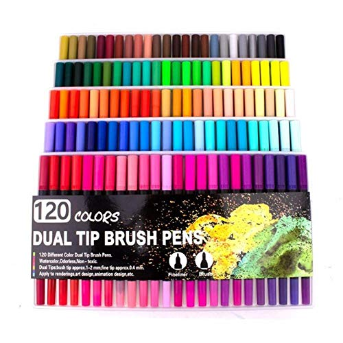 FISISZ 12//24//36//48//80 Colors Dual Tips Watercolor Brush Marker Pen Set with Fineliner Tip For Drawing Design Art Marker Supplies,80 Colors
