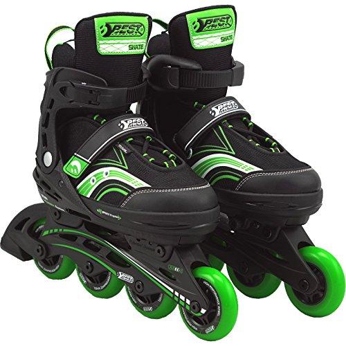 Best Sporting Inline Skates Größe verstellbar, ABEC 5 Carbon, Inliner Kinder und Jugendliche, Farbe: grün/schwarz, Größe: 35-40