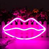 MorTime Cute Neon Signs, LED Neon Light for Party Supplies, Girls Room Decoration Accessory, Table Decoration, Children Kids Gifts (Lip Shaped)