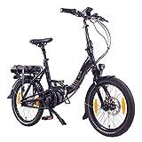 """NCM Paris MAX N8R / N8C E-Bike, E-Faltrad, 250W, 36V 14Ah 504Wh Akku, 20"""" Zoll (Schwarz mit Rollenbremse (N8R))"""