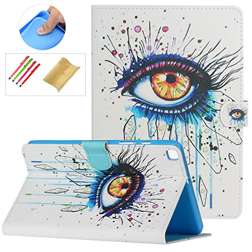 SM-T290 SM-T295 Case with Stylus Holder,Galaxy Tab A8 Case 2019, PU Leather Anti-Scratch Protective Flip Stand Wallet Card Slots Cover for Samsung Galaxy Tab A 8.0' 2019 without S Pen Model, Big Eye