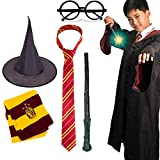 Halloween Cosplay Set 5 pcs -Striped Tie, Glasses Frame, Wizard hat, Magic Wand and Heathered Knit Scarf, Halloween Wizard Cosplay Party Costumes Accessories for Halloween Christmas