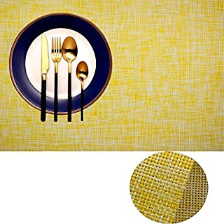 IMIYOKU Placemat, MiniBasketweave Woven Vinyl Non-Slip Insulation Placemat Washable Table Mats (8, Yellow)