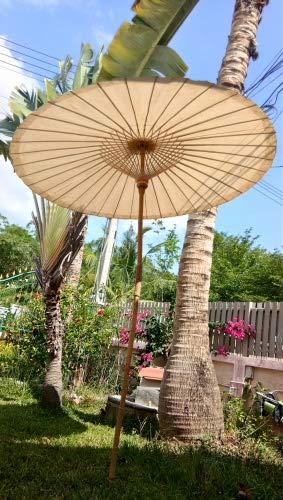 Nature Lounge 24 Sonnenschirm aus Bambus - Bambusschirm in 2 Farben Farbe Hellbeige