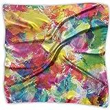 AIQIIA Unisex Bandana Head and Neck Tie Neckerchief Headdress Silk-Like,Oil Painting Style Abstract Watercolors Brushstrokes Mottled Messy Vibrant Print,Square Scarves Bandana Scarf