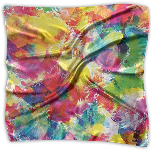 AIQIIA Unisex Bandana Head and Neck Tie Neckerchief Headdress Silk-Like,Oil Painting Style Abstract Watercolors Brushstrokes Mottled Messy Vibrant Print,Square Scarves Bandana Scarf