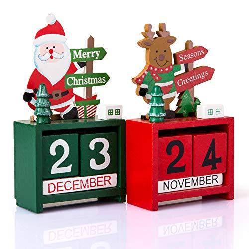 Kesote Calendario di Legno da Tavolo in Stile di Natale Ornamento Decorativo di Casa e Ufficio, Set di 2 Calendri, Babbo Natale e Renna, Verde e Rosso