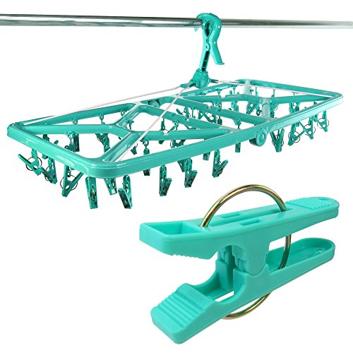 HANGERWORLD Large 42 Peg Plastic Foldable Sock Underwear Clothes Line Washing Laundry Indoor Airer Dryer