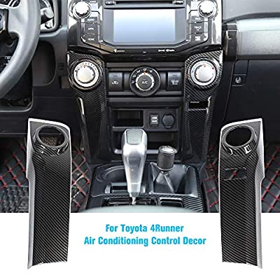 JeCar for 4Runner Air Conditioning Switch Panel Cover for 4Runner Accessory Decoration Trim Frame ABS for Toyota 4Runner 2010 2011 2012 2013 2014 2015 2016 2017 2018 2019 Carbon Fiber Pattern 2Pcs
