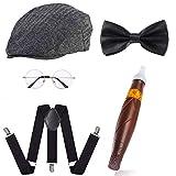 Beelittle 1920s para Hombre Gatsby Gangster Disfraces Accesorios Conjunto - Gatsby Newsboy Beret Hat, Tirantes, Reloj de Bolsillo, Corbata, Pajarita Pre Atada, Cigarro, Bigote Falso (B)