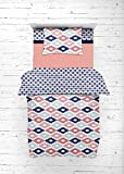 Bacati - Emma Aztec Coral/Mint/Navy 4 pc Toddler Bedding Set