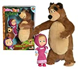 Jada Toys Masha and The Bear, Masha Plush Set with Bear and Doll Toys for Kids, Ages 3+, Nylon, 109301072, 9.8 inches