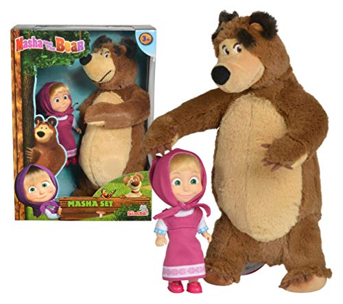 Masha and the Bear Jada Toys, Masha Plush Set with Bear and Doll Toys for Kids, Ages 3+, Nylon, 109301072, 9.8 inches