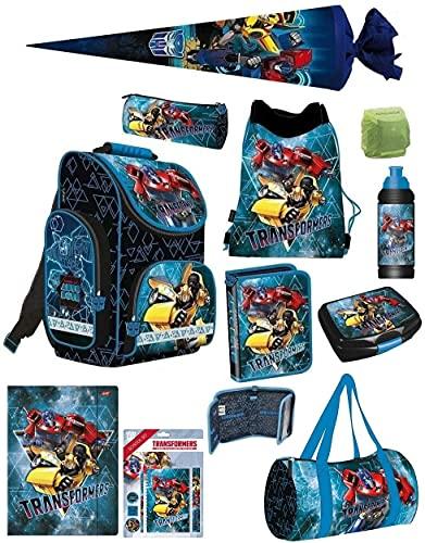 Familando Transformers PL Schulranzen-Set 16-TLG. mit Federmappe, Turnbeutel, Brotzeit-Dose, Trink-Flasche, Sporttasche, Schultüte 70cm und Regenschutz Blau