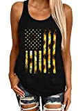 EIGIAGWNG Womens Leopard American Flag Star Tank Tops Cute July 4th Independence Day Sunflower Graphic Tees T-Shirts (B-Black, L)
