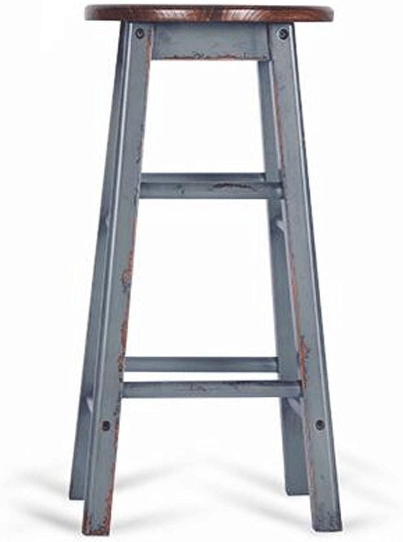 TXXM Barstools Solid Wood bar Stool Retro bar Stool bar Chair High Stool high Chair (Size   H62CM)