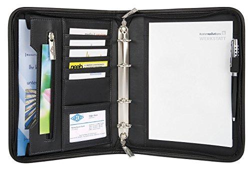 Wedo 585101 Konferenzmappe Elegance (aus Kunstleder, Nylon, 4-Ring-Mechanik, Reißverschluss, viele Fächer, für A5 Formate) schwarz
