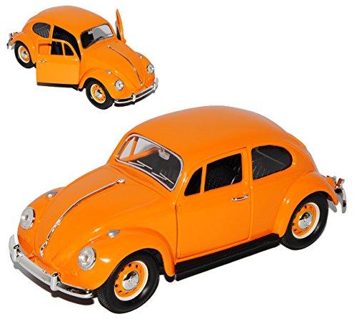 Lucky Die Cast Volkwagen Käfer Coupe Orange mit orangenen Radkappen 1967 1/24 Yatming Modell Auto mit individiuellem Wunschkennzeichen