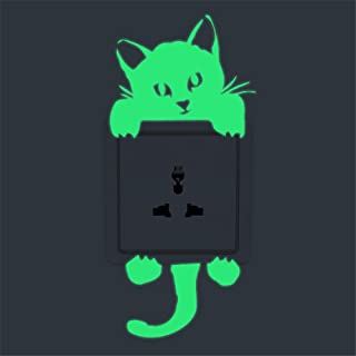 Glow in The Dark Wall Switch Stickers, E-Scenery Grand Sale! Kitten Cat Removable DIY 3D Wall Decals Mural Art Wallpaper for Room Home Nursery Wedding Party Birthday Office Window Decor, Green (B)