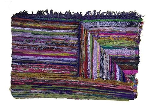 Alfombra de retales reciclados hecha a mano - Chindi - Multicolor - 150 x 90 cm