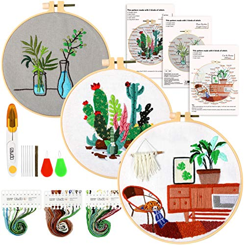 Caydo 3 Sets Embroidery Starter Kit with Pattern and Instructions for Adult Beginners Cross Stitch Kit, 3 Plastic Embroidery Hoops, Embroidery Clothes, Color Threads and Tools
