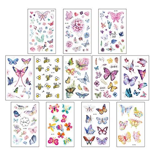 JOYKK 12 Pezzi Cartoon Tatuaggi Adesivi per Bambini Tatuaggi Finti per Bambini Impermeabili Impermeabili Svegli