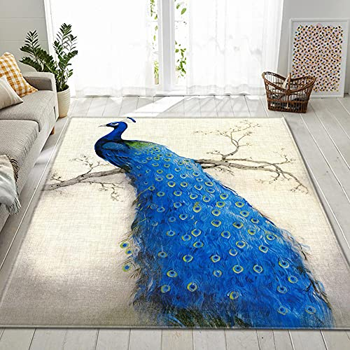 QWFDAQ Alfombra de Pelo Corto para salón, Pavo Real Animal Blanco Azul 3D Alfombra para Vivienda Moderna, 60 x 90 cm Alfombra Decorativa para Dormitorio, Comedor
