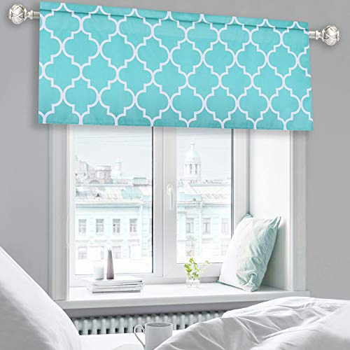 KEQIAOSUOCAI Moroccan Tile Print Valance Curtains Room Darkening Blackout Valance for Dining Living Room/Bathroom/Kids Boys Room Windows with Rod Pocket - 52 by 18 Inch Length 1 Panel Turquoise