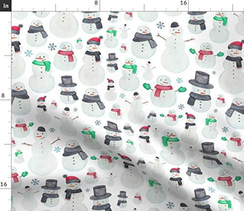 Spoonflower Fabric - Christmas Snowmen Winter Snow Snowman Children Printed on Petal Signature Cotton Fabric by The Yard - Sewing Quilting Apparel Crafts Decor