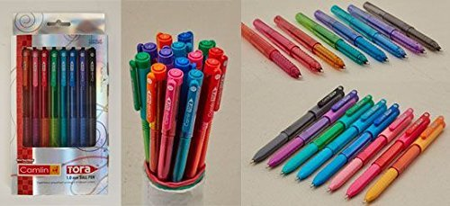 Camlin Tora Ball Pen Set in 8 Vibrant Ink Colors